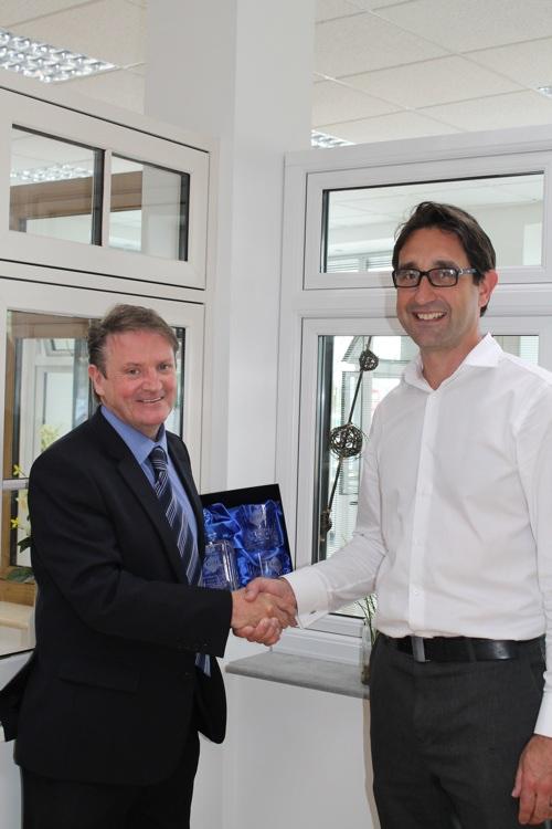 Colin Torley (left) congratulates Paul Griffiths