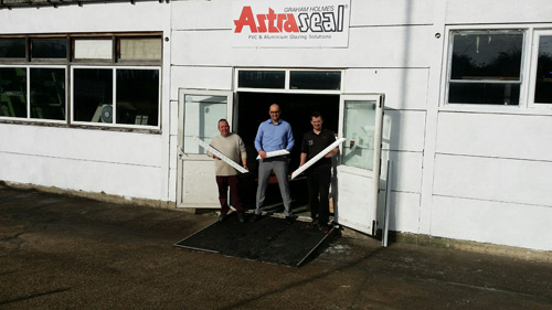 Sales and marketing manager, Zachary Nedimovic (centre), outside Astraseal's new factory