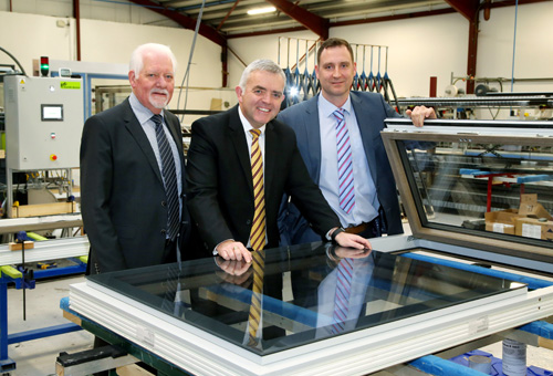 Apeer recently received a visit from the NI Department of Enterprise, Trade and Investment minister, Jonathan Bell, (centre) ahead of plans for significant future investment in the business