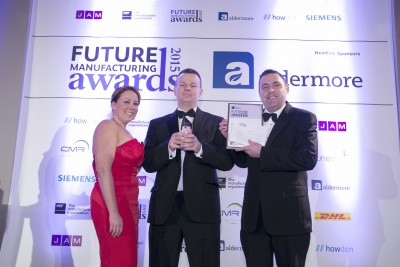(L-R): Louise MacIntosh, from headline sponsor Aldermore, Peter Eatough - engineering manager, Veka UK Group, Rik Jones - control room operator, Veka UK Group