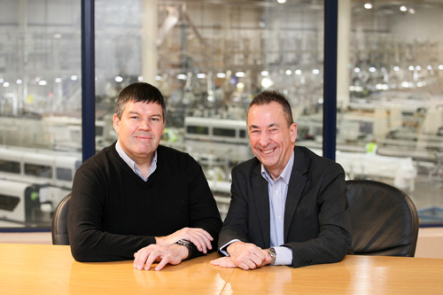CEO Roger Hartshorn (left) welcomes Terry Grant to Liniar