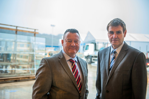 (L-R) On site in the company's new production storage area, Dual Seal Glass MD, Richard Morris, with commercial director, Nigel Meredith