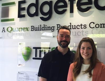 New Promotions at Edgetech Technical Services Manager Karl Jones and Head of Marketing Charlotte Davies