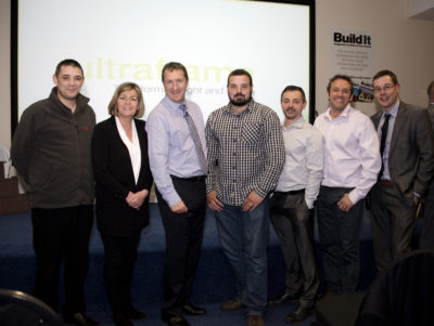 pictured L to R: Karl Wilcock, SIG Windows; Sarah Byrne, Conservatory Eco Roofs; Julian Slade, CEO, Ultraframe; George Stone, Mendip Conservatories; Jason Jenkins, Secura Home Swansea; Stuart Jones, Paxtons; Craig Keighley, head of retail sales, Ultraframe