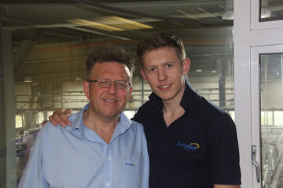 EU06 Martin Nettleton, Managing Director at Euroglaze, marking 20 years with the business with his 20 year old son George