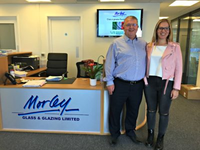 Morley Glass & Glazing MD Ian Short with Paola Bonesi who has joined the company as part of a six-moth knowledge sharing initiative