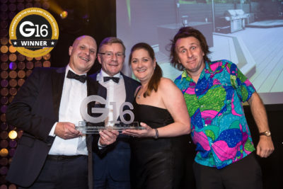 Composite Wood Company wins the G16 Award for Promotional Campaign of the Year – Retail, accepted by Andy and Sarah Ball of Balls2 Marketing