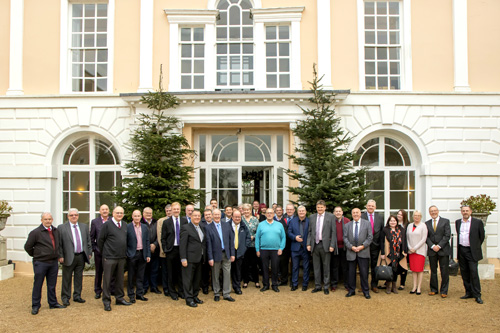 SEH BAC sales team and guest speakers gathered outside the Hintlesham Hall Hotel