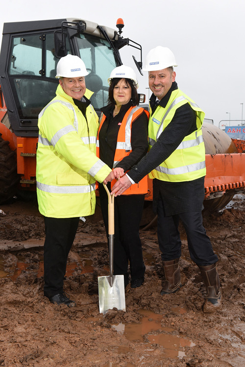 The construction of ERA's new premises has begun at Wolverhampton's i54 business park. L to R: Stuart Jones, ERA technical services engineer, Wendy Eccleston, ERA marketing co-ordinator and Darren Waters, ERA CEO
