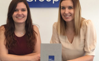 Carl F Groupco's marketing assistan,t Rebecca Haynes (left) and marketing manager, Clare Crockett, launch the company's new hardware catalogue