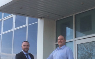 Paul Gravell, key account manager for YDWS, and Phil Cresswell, sales and marketing manager for Total Glass