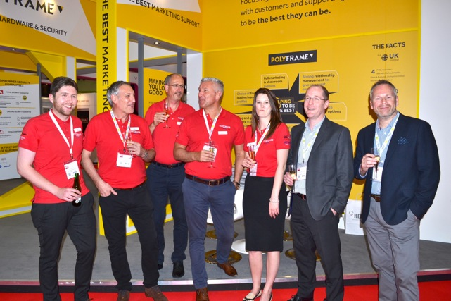 From left to right: Tony Cragg, MD Virtuoso; Richard Lee, MD Polyframe Halifax; John Adams, customer service director; Gareth Thomas, group sales and marketing director; Claire Miller, group marketing manager; John Lightowlers, group managing director and Nick Gibbons, chief operations officer