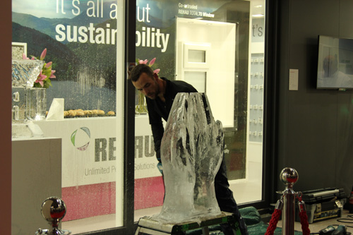 Rehau's FIT Show experience featured an ice carving demonstration by Danny Thomas