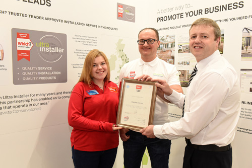 Left to right: Catie Doherty from Which? Trusted Traders, Adam Wilde, marketing manager from Ultraframe and Tim Wade from Which? Trusted Traders