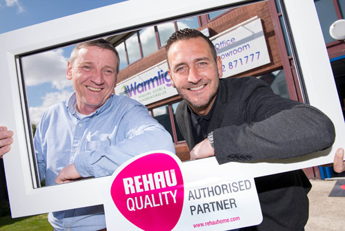 Former Hollyoaks star, Will Mellor (right) helped to celebrate the launch of Warmlight's new showroom