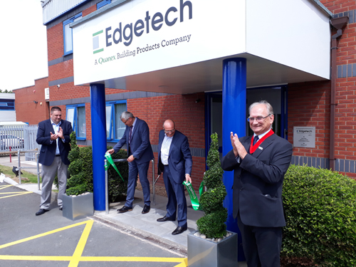 From left: Quanex's George Wilson, Edgetech's Chris Alderson and Quanex's Bill Griffiths unveil Edgetech UK's new facility with help from deputy Lord Mayor of Coventry, Councillor John Blundell