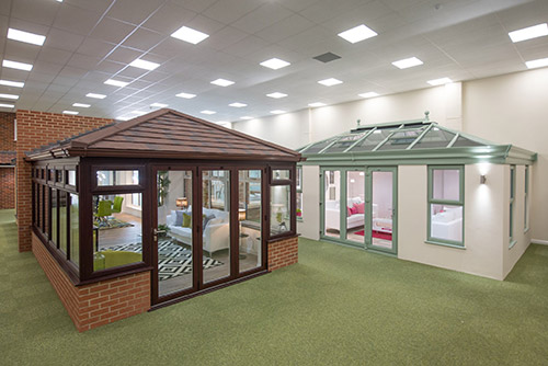 Conservatory Outlet retail partner Amber Home Improvements new showroom, Hellesdon Hall Industrial Estate, Norwich.