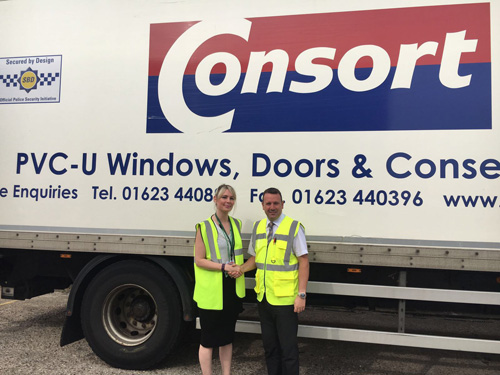 Jo Reynolds (left), manager of Derbyshire Victim Services meets with Consort's Jeff Dunn (right)