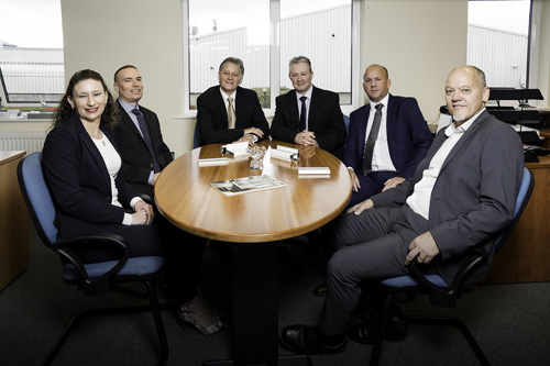 (Left to Right) Angela Phillips, Jeremy Phillips, Mike Davis, Richard Smith, Martin Rowe and Allan Little