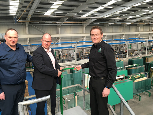 From left and right: Mark Herbert and Matt Prowse, joint managing directors of Mackenzie Glass, with Pilkington manager director, Matt Buckley