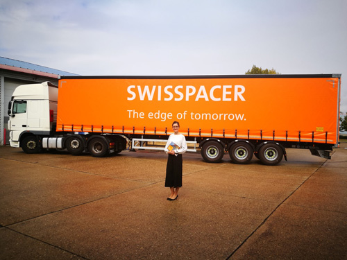 Swisspacer has invested in new livery. Pictured is Agnieszka Wronska, responsible for sales at Swisspacer UK