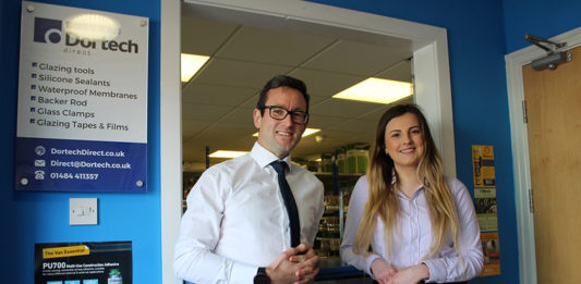 James Sutherland with Dortech's marketing manager, Roxanne Stainburn.