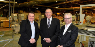Gareth Jones, Alex Gray and Brian McDonald at the factory.