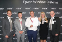 Left to right, Mark Austin (Epwin Window Systems), Alex Squibb (Clearview Glaziers), Robin Squibb (Clearview Glaziers), Katrina Earl (Epwin Window Systems), Paul Lindsay (Epwin Window Systems)