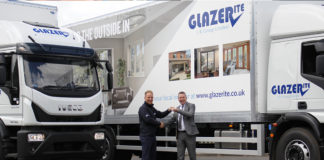 Glazerite's sales and marketing director, Jeff Dunn, receives the keys for the new lorries