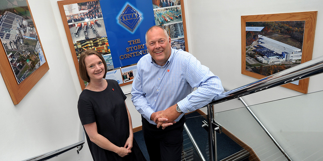 Rachel McQueen, chief executive of Marketing Lancashire, with Lancashire Ambassador David Jones, MD of Veka