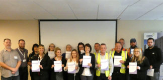 The seventeen members of staff at CMS Window Systems who have completed their SMHFA mental health first aider training.