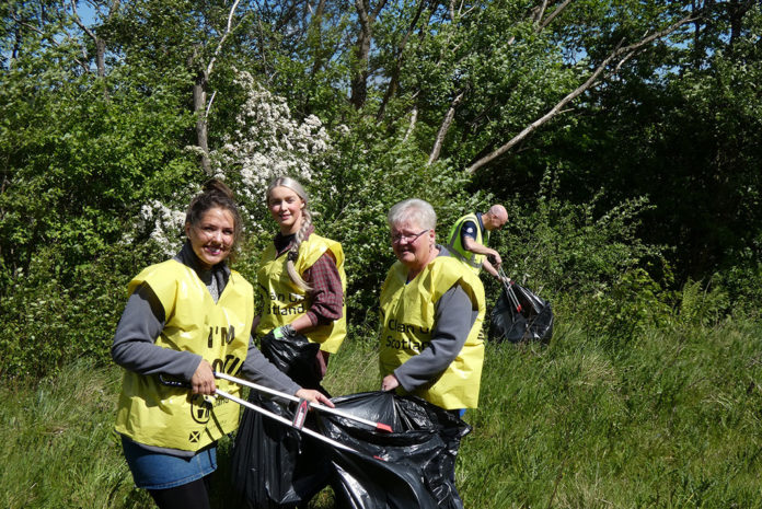 Amy Ledger (second from left), Environmental Advisor at CMS Window Systems, with colleagues during the 'big litter pick' around the CMS site in Castlecary near Glasgow