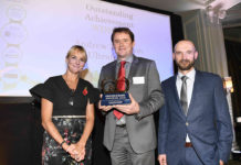 Left to Right: C&O Awards host, Louise Minchin, Ultraframe's Andrew Thomson, Made For Trade's Chris Wann