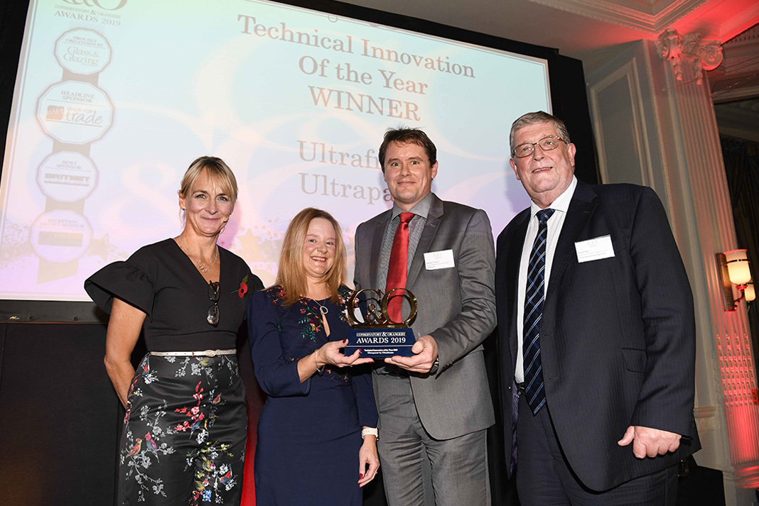 C&O Awards host, Louise Minchin, Ultraframe's Alex Hewitt and Andrew Thomson, GGF director of home improvement, Russell Day