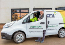 Jamie Hepburn MSP, Scotland's Minister for Business, Fair Work and Skills, during a recent visit to CMS Window Systems to see how the company is 'greening' its vehicle fleet with the addition of 100% plug-in electric vans. At the wheel is CMS environmental advisor Amy Ledger
