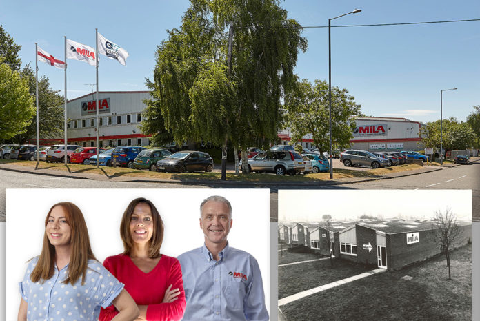 PIC 1: The current Mila premises in Daventry PIC 2: L-R Jennie James, Sarah Gyde and Strafford Cooke are all celebrating big anniversaries at Mila in 2020 PIC 3: Mila's original premises in Daventry opened in 1980