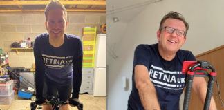 Martin Nettleton from Euroglaze (right) has challenged his Barclays bank manager, Daniel Firth (left), to a 1,000km virtual bike ride to raise money for Retina UK